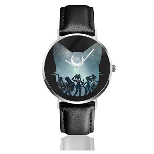 Unisex Business Casual Sailor Moon Team Uhren Quarz Leder Uhr mit schwarzem Lederband für Männer Frauen Young Collection Geschenk