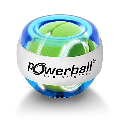 Powerball Kernpower® Original Lightning Blue, Gyroskopischer Handtrainer mit blauem Lichteffekt inklusive Start-Schnur zur Starthilfe