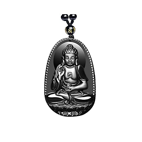 Acxico 1 pcs Fearless Protection Amulet Hand Carved Black Obsidian Buddha Pendant Necklace