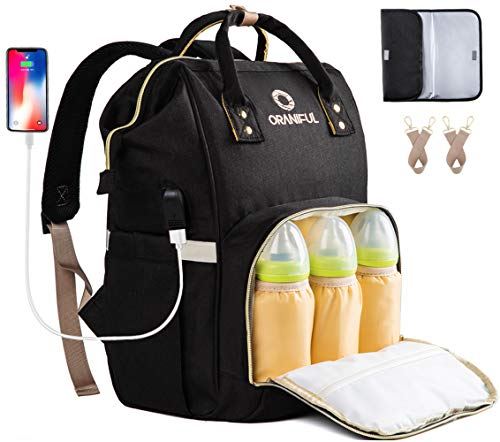 ORANIFUL Diaper Bag Backpack for Mom Waterproof Baby Nappy Bags Insulated Bottle Pockets Large Multi-Functional Travel Back Pack Built-in USB Charging Port with Changing Pad & Stroller Straps (Black)