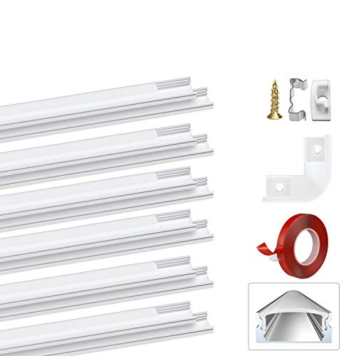 LED Aluminium Profil U-Form 1m,Led Aluminium Leisten LED Lichtleiste,LED-Kanäle für LED-Streifen(1-12mm),mit 3M Klebstoff,Deckel in milchig-weiß, Metall Befestigungs Clips Endkappen PEBA(12-pack)