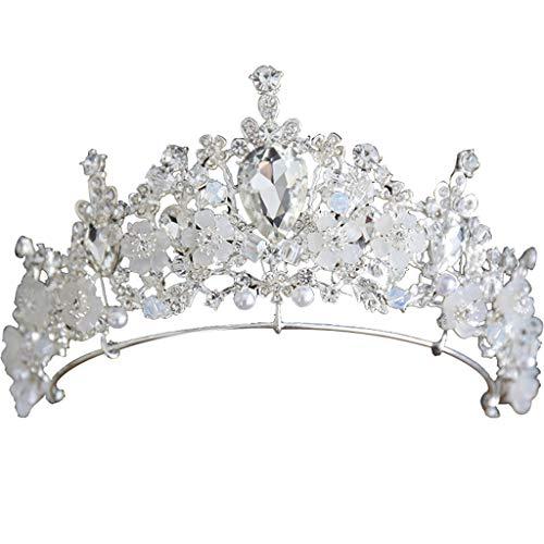 Corona Tocado Adulto Novia Boda Corona Accesorios de Boda Princesa Cumpleaños Lujo Accesorios (Color : White)