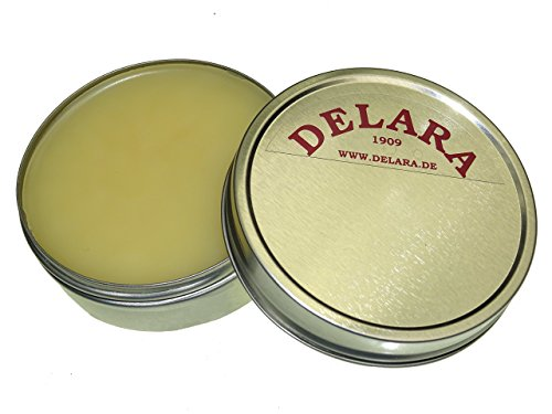DELARA Hochwertiger Pflegebalsam für Leder mit Jojoba und Bienenwachs - schützt Glattleder wirksam vor Austrocknung und Oxidation, farblos - Made in Germany