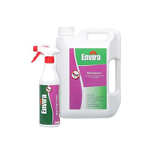 Envira Motten-Spray - Anti-Motten-Mittel Mit Langzeitwirkung - Geruchlos & Auf Wasserbasis - 500 ml + 2 Liter