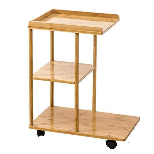 MBZL - Mesa auxiliar para sofá, 3 cajones, rústico de bambú, mesa auxiliar, estilo industrial, sofá, mesa de servicio, mesita de noche con ruedas para salón, dormitorio, oficina