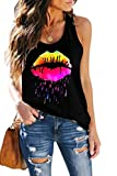 ETCYY Women's Workout Sleeveless Workout Yoga Tank Tops Loose Cute Printed Running Sports Athletic T Shirts
