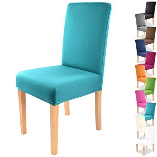 """Gräfenstayn® Funda para sillas elásticas Charles - respaldos Redondos y angulares - Ajuste bi-elástico con Junta Oeko-Tex Standard 100:""""Confianza verificada (Turquesa)"""