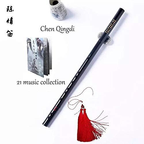 Chen Qing flauta de bambú flauta de bambú del patriarca del diablo cos props Wei Wuxian Amazon explosiva flauta cruzada, negro
