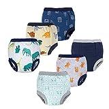 BIG ELEPHANT 6 Pack Baby Boys' 100% Cotton Toddler Potty Training Pants Reusable Waterproof Underwears