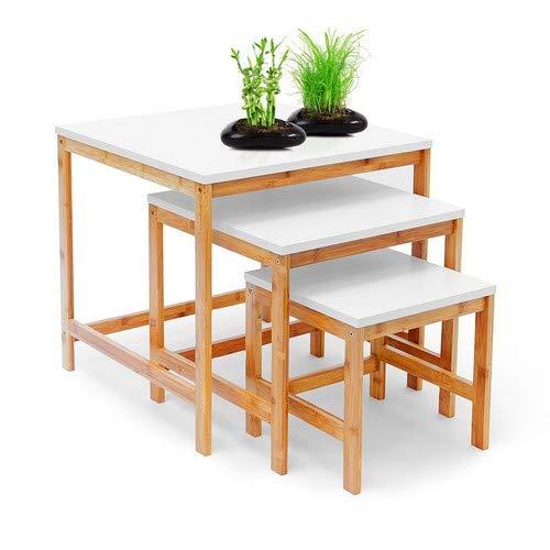 Relaxdays Bamboo Bijzettafel, 3-delige set, woonkamertafel, houten bamboe en wit gelakt tafelblad, set van 3 verschillende maten, salontafel 50, 40 en 30 cm, in Scandinavische stijl, naturel