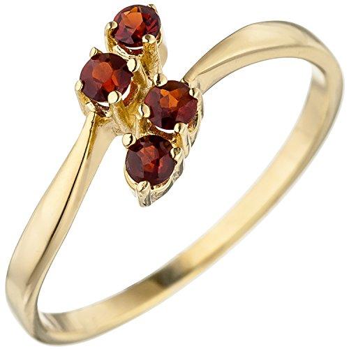 JOBO Damen Ring 375 Gold Gelbgold 4 Granate rot Goldring Granatring Größe 58