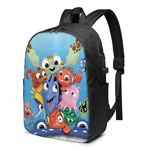 Buscando Nemo - Mochila USB de 17 pulgadas, mochila grande para ordenador portátil, para hombres, mujeres, adolescentes, carga USB, puerto de auriculares, mochila de viaje
