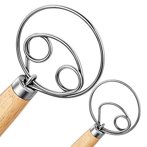 Nlmyt 2Pcs Danish Dough Whisk, Dutch Whisks, Wooden Danish Whisk, 13 Inch Premium Stainless Steel Batter Whisks, Whisk Kitchen Tool for Bread, Batter, Cake, Pastry