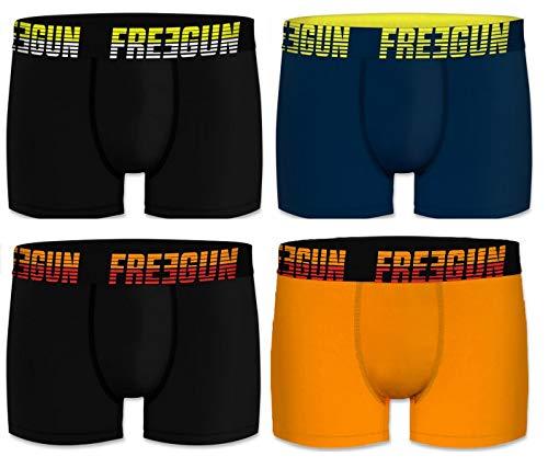 Freegun - Juego de 4 bóxers para hombre (algodón) Negro Marino Naranja M