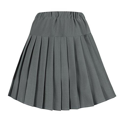 urban GoCo Mujeres Falda Tenis Plisada Cintura Elástica Uniforme Escolar Mini Faldas (2XL, Gris sólido)