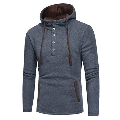 Pullover Hoodie Hooded Top Plain Hoodie for Mens with Buttons Hoody Sweatshirt Mens Hoodies Long Sleeve Regular Fit Mens Long Hoodie Pullover Sweatshirt Casual Running T Shirt Sport Button Hoody