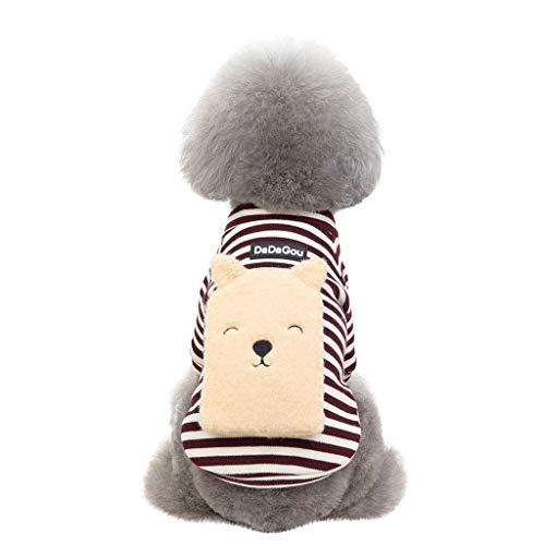Fenverk Hundekleidung Für Kleine Hundepullover Hund Kleidung Herbst Winter Haustier Katze Hundebekleidung Sweater Warm Kapuzenjacke Hundemantel(A Kaffee,XXL)