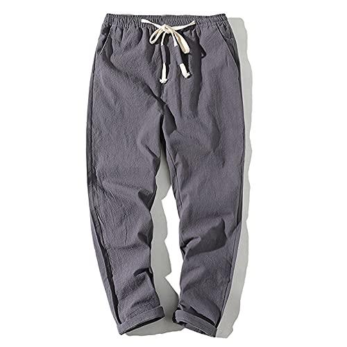 Pantalones para Hombre Verano Color sólido Moda Salvaje Deportes al Aire Libre con cordón y Bolsillos Pantalones Harem Sueltos Casuales de Talla Grande XL
