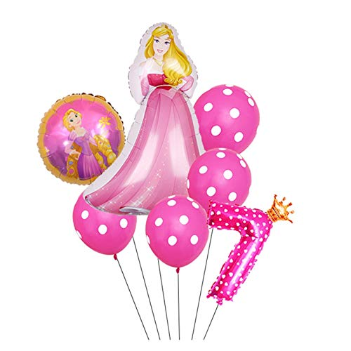 JSJJAYH Ballon 7 Teile/los Prinzessin Schneewittchen Sofia Folie Ballons Geburtstag Party Dekorationen Kinder Tupfen Tupfen Latex Ballon décoration (Color : Style7)