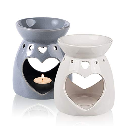 2Pcs Heart Shape OIL Burner Ceramic Aroma Burner Fragrance Wax Melt Burners Which Wax Holder Candle Scented Diffuser for Home Furnishings Bedroom Gift