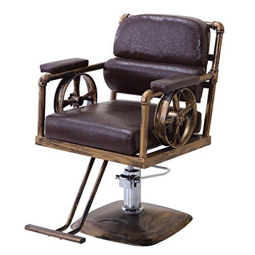 Friseurstuhl Friseursessel Bedienungsstuhl Friseureinrichtung Hydraulisch Stuhl,Pu-Leder, Entspannen Sich Das Bein, Höhenverstellbar/Retro,Brown