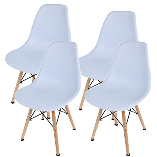 shamolutuo Dining Chairs Set of 4 Dining Room Chairs Kitchen Chairs Accent Chair Mid Century Modern Style Chair Plastic DSW Chair with for Wood Assembled Legs Bar Home Office Furniture (White)