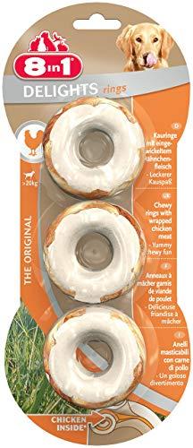 8in1 Delights Chicken Kauringe, spuntino salutare da masticare per cani di grossa taglia, 3 pezzi (119 g)