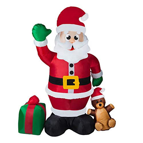 8FT Christmas Inflatable Santa Claus with Gift Bag Built-in LED Lights Blow-Up Yard Party Decoration for Xmas Airblown Inflatable Outdoor Indoor Home Garden Yard