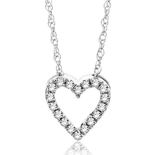 Orovi Halskette Damen Kette Weißgold 18 Karat / 750 Gold mit Herz Diamant Brilliant 0,09 ct
