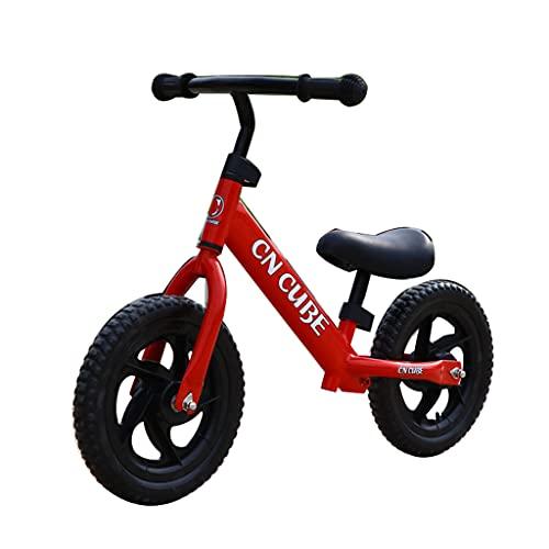 Bicicleta de Equilibrio para niños de Dos Ruedas y 12 Pulgadas de Acero al Carbono sin Cadena (Rojo, Amarillo, Azul, Rosa, Naranja)