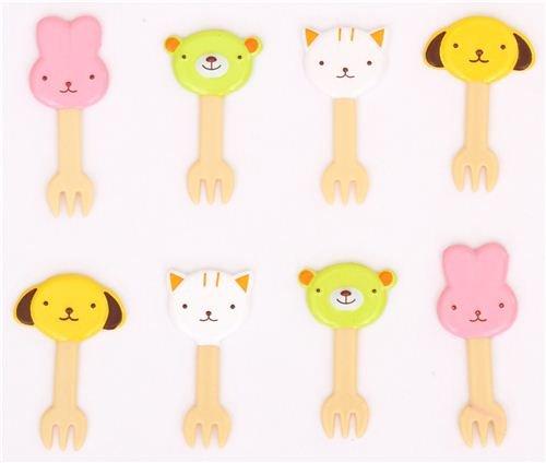 Piques à bento / fourchettes avec des animaux de compagnie