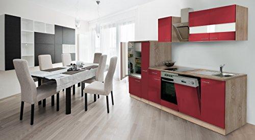 respekta inbouw keuken kitchenette 310 cm eiken Sonoma ruw gezaagd front rood incl. designer schuine kap