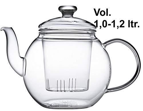 Teaposy récolte Théière avec filtre en verre et couvercle en verre 1,2 L verre Borosilicate résistant à la chaleur, Passe au lave-vaisselle, idéal pour les feuilles de thé