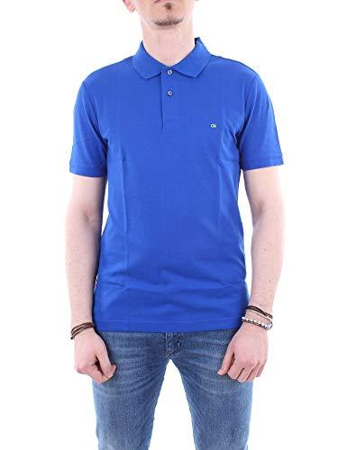 Calvin Klein Bordado Logotipo Refinado Piqué Algodón Hombres Camisa Polo, Azul Real