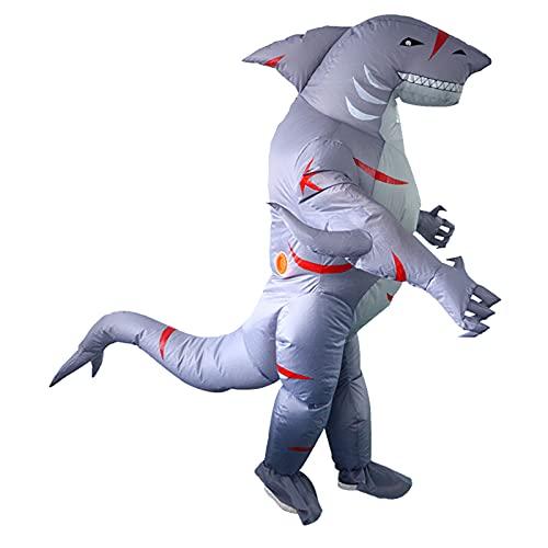 SIREN SUE Halloween Costume Shaped Shark Inflatable Costume Gray Blue, Large
