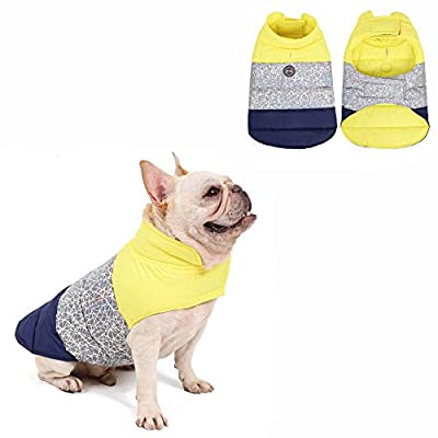 AIWOKE Winter Puppy Coat Cold Weather Dog Reversible Warm Jacket for Small, Medium & Large Dogs Clothing With Leash Ring Waterproof Pet Outfit Thick Vest (XXXL, Yellow)