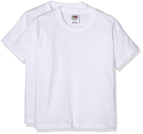 Fruit of the Loom 6103323 - Camiseta para niños, lot de 2, color Blanco, 5-6 años (116 cm)
