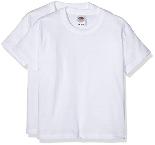 Fruit of the Loom 6103323 - Camiseta para niños, lot de 2, color Blanco, 9-11 años (140 cm)
