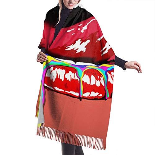 Bufanda de Cachemira con diseños de astronauta y chal largo a la moda para mujer con labios sexis de acuarela, caja de regalo con bufanda grande y cálida para invierno