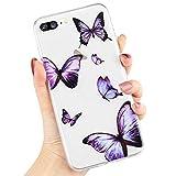 L-FADNUT Klar Hülle mit Schmetterlings Druck für iPhone 6 Plus/6S Plus Niedliche Druck des Schmetterlings Klar Silikon TPU Stoßfest Mädchen Handyhülle für iPhone 6 Plus/6S Plus Lila