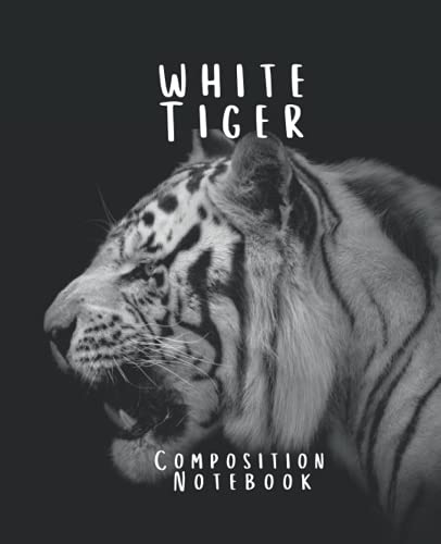 White Tiger Composition Notebook: Widelined composition notebook with White Tiger Facts perfect for Tiger Lovers