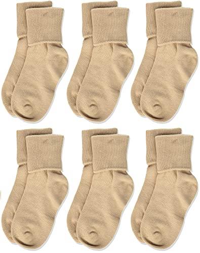 Jefferies Socks Little Girls' Seamless Turn Cuff Socks (Pack of 6), Stone, Small