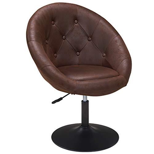 Duhome Sessel höhenverstellbar Stoff Lederoptik Braun Schokoladenbraun Clubsessel Coctailsessel Loungesessel 509A