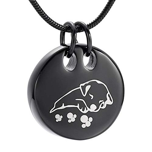 TIANZXS Joyería de cremación de Perro Durmiente para Cenizas Medallón Colgante Recuerdo de Acero Inoxidable Collares de urna para Mascotas para Cenizas Negro