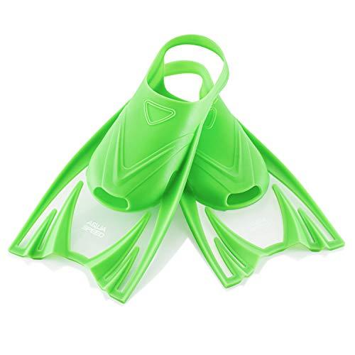 Aqua Speed Trainingsflossen kurz für Kinder I Training Schwimmflossen Mädchen Jungen I Kurzflossen Schwimmtraining I Schnorchel Flossen kurz I Schwimmbad I Pool I Grün, Gr 25-29 (S) I Frog