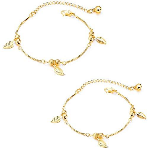 Damen Fußkettchen Gold 2pcs, 18K Vergoldet Blätter Fußkette Kugelkette Armreif Sommer Strand Fuß Schmuck für Frauen Mädchen (A)