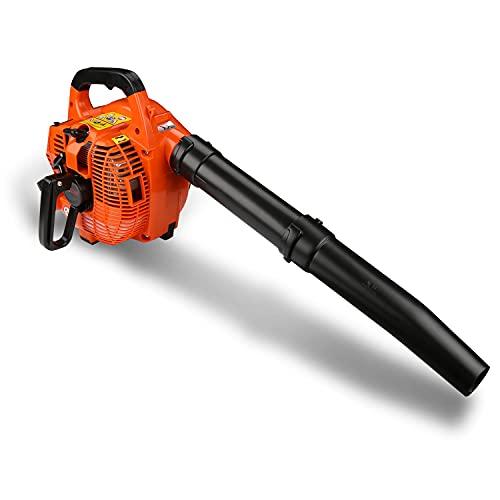 Hotmigao Laubsauger Laubbläser 3-in-1 Benzin Laubhäcksler bis 240 km/h(71m/ s), mit 2 Schlauch, 50 L Fangsack, Drehzahlregulierung, Anti-Vibrationssystem, Tragegurt