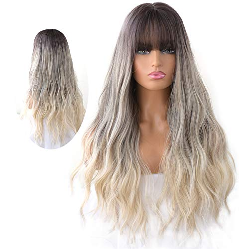 7JHH WIGS Natural Long Wavy Curly Wig for Women Hair Dye Synthetic Full Wig With Bangs (Blond)