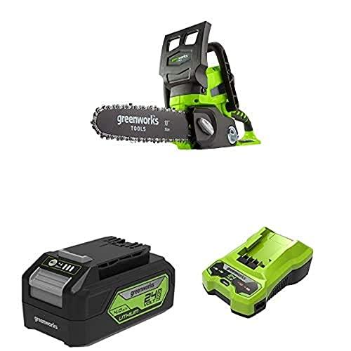 Greenworks Motosierra de batería G24CS25 + Batería potente y recargable de Li-Ion 24 V 4.0 Ah + Cargador de baterías G24C