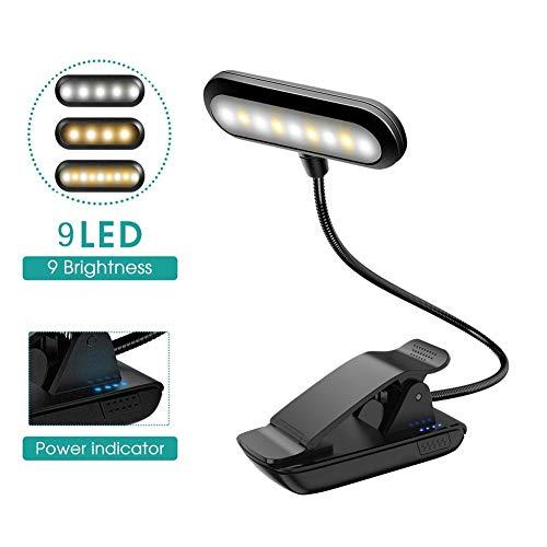 VGROUND Notenständer-Licht, Leselicht mit USB wiederaufladbar, 9 LEDs, 9 Helligkeitsmodi, zum Anklippen, Leselampe, ideal für Bücherwürmer, Klavierspieler, Kinder, Reisen